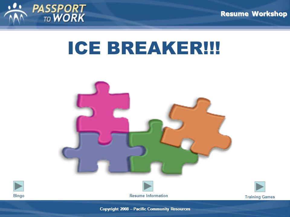 Resume Workshop Copyright 2008 – Pacific Community Resources ICE BREAKER!!.