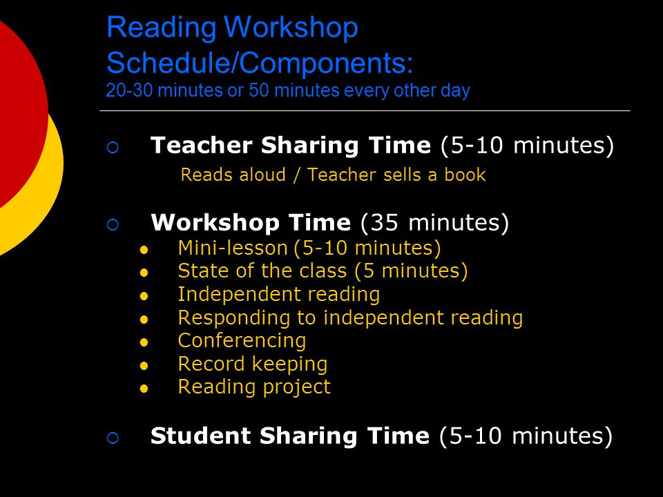 Reading Workshop Schedule/Components: 20-30 minutes or 50 minutes every other day  Teacher Sharing Time (5-10 minutes) Reads aloud / Teacher sells a book  Workshop Time (35 minutes) Mini-lesson (5-10 minutes) State of the class (5 minutes) Independent reading Responding to independent reading Conferencing Record keeping Reading project  Student Sharing Time (5-10 minutes)