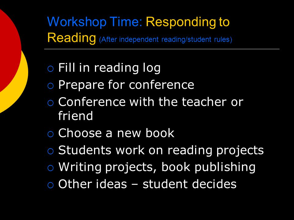 Workshop Time: Responding to Reading (After independent reading/student rules)  Fill in reading log  Prepare for conference  Conference with the teacher or friend  Choose a new book  Students work on reading projects  Writing projects, book publishing  Other ideas – student decides