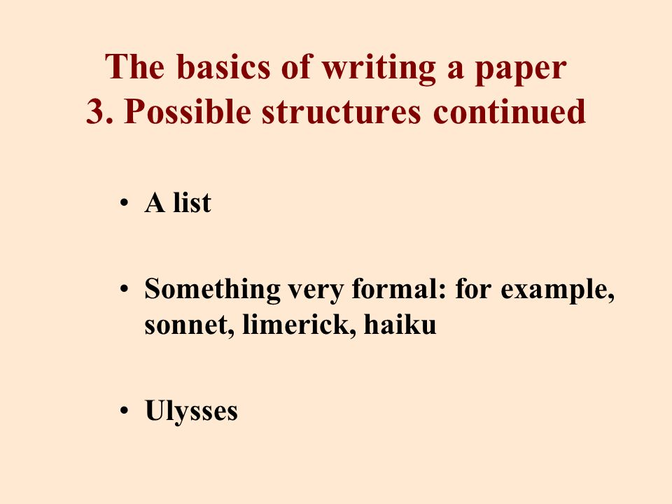 The basics of writing a paper 3.