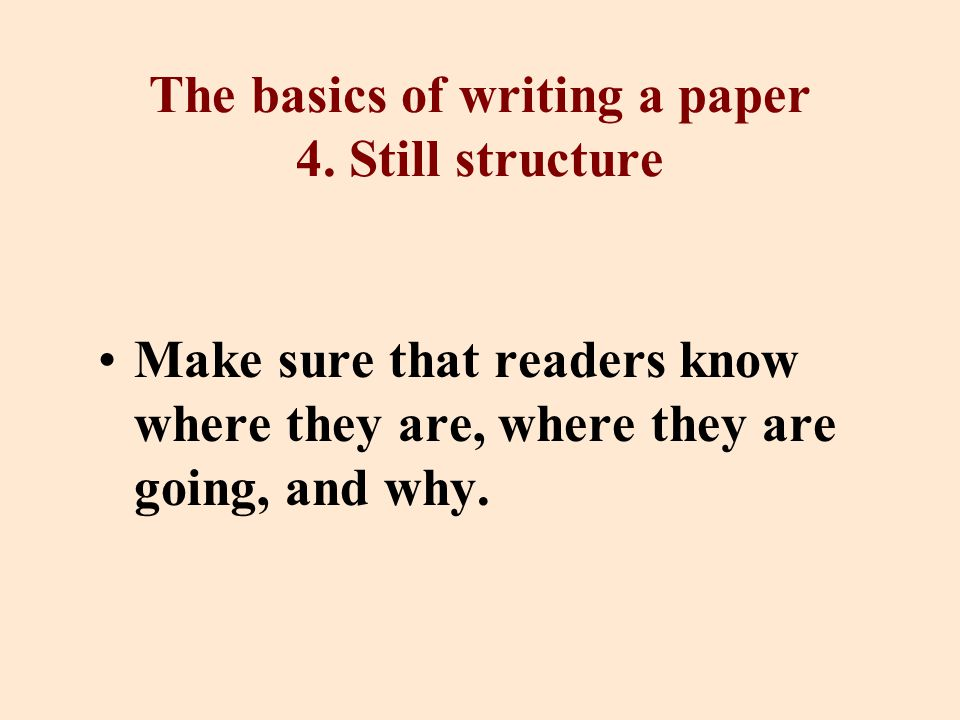 The basics of writing a paper 4.