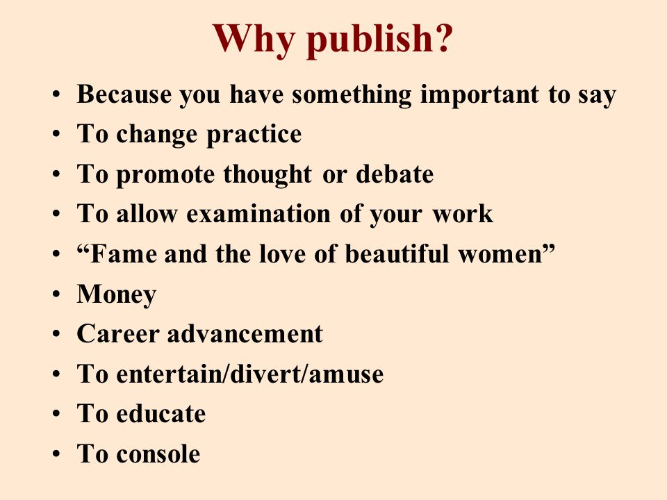 Why publish.