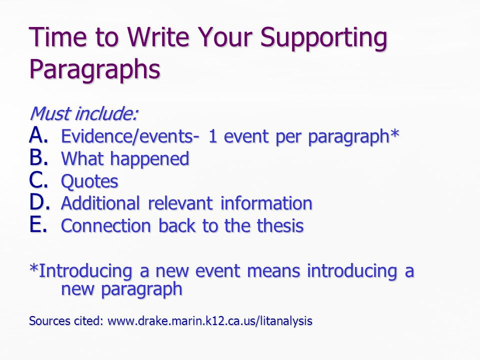 Time to Write Your Supporting Paragraphs Must include: A.