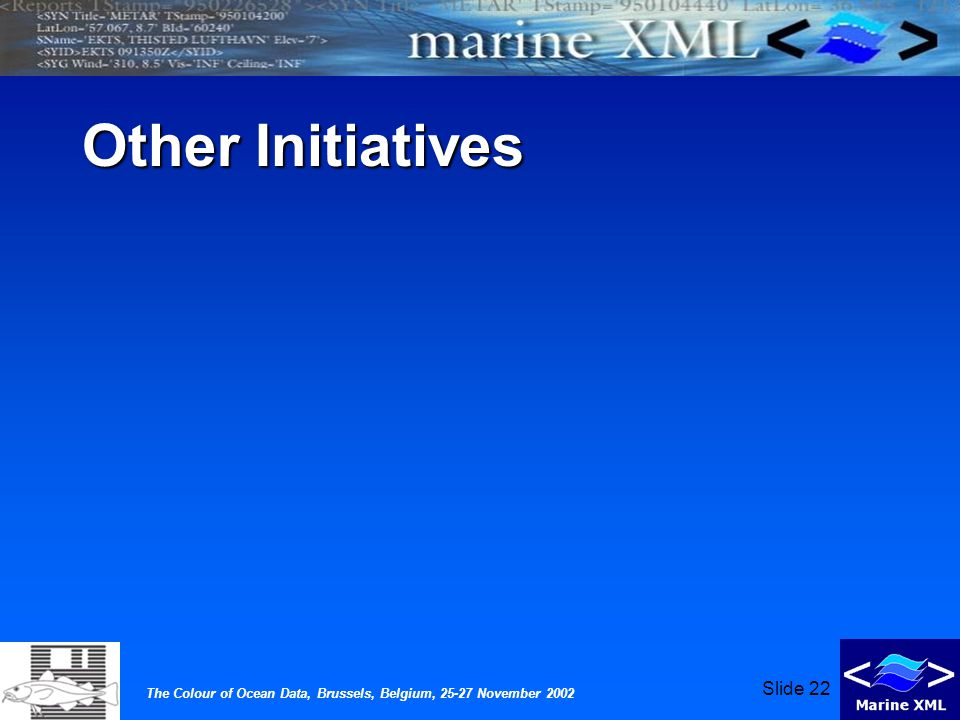 The Colour of Ocean Data, Brussels, Belgium, 25-27 November 2002 Slide 22 Other Initiatives