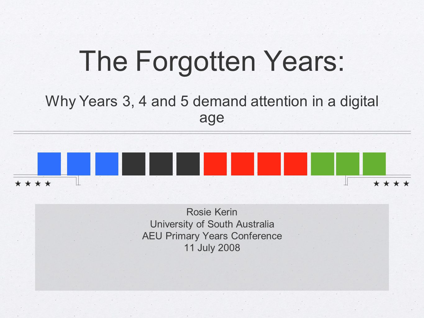 The Forgotten Years: Why Years 3, 4 and 5 demand attention in a digital age Rosie Kerin University of South Australia AEU Primary Years Conference 11 July 2008