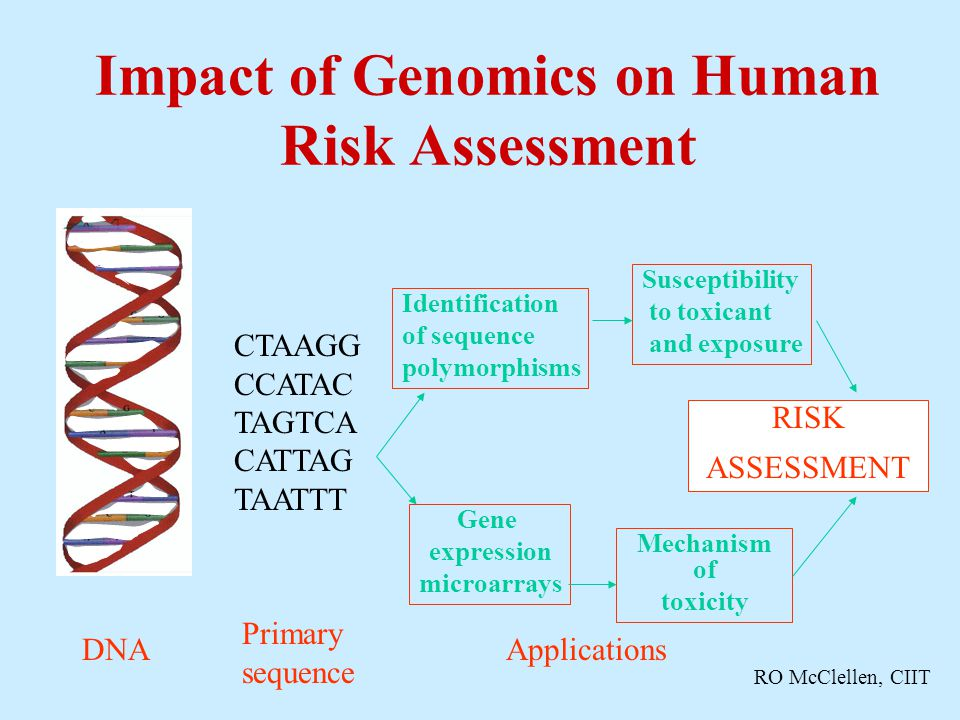 Impact of Genomics on Human Risk Assessment CTAAGG CCATAC TAGTCA CATTAG TAATTT DNA Primary sequence Gene expression microarrays Identification of sequence polymorphisms RISK ASSESSMENT Susceptibility to toxicant and exposure Mechanism of toxicity Applications RO McClellen, CIIT
