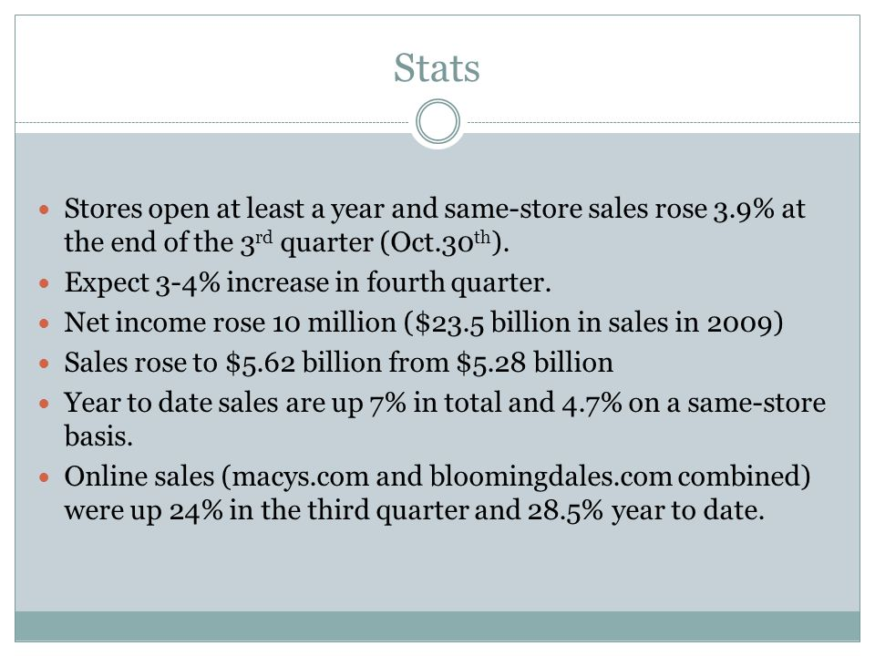 Stats Stores open at least a year and same-store sales rose 3.9% at the end of the 3 rd quarter (Oct.30 th ).