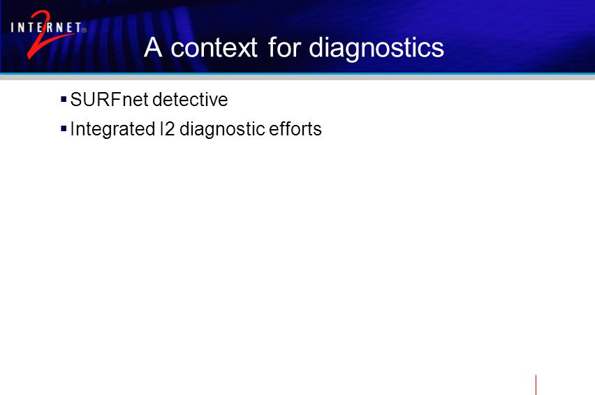 A context for diagnostics  SURFnet detective  Integrated I2 diagnostic efforts