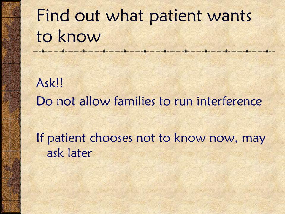 Find out what patient wants to know Ask!.