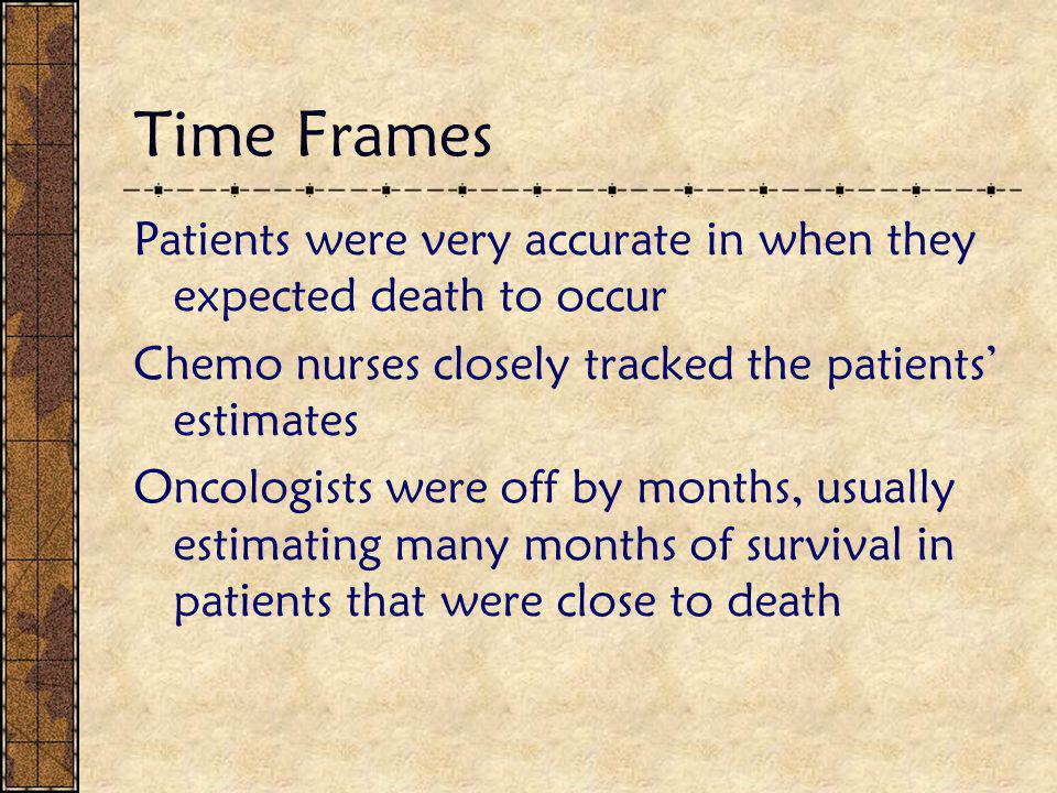 Time Frames Patients were very accurate in when they expected death to occur Chemo nurses closely tracked the patients' estimates Oncologists were off by months, usually estimating many months of survival in patients that were close to death