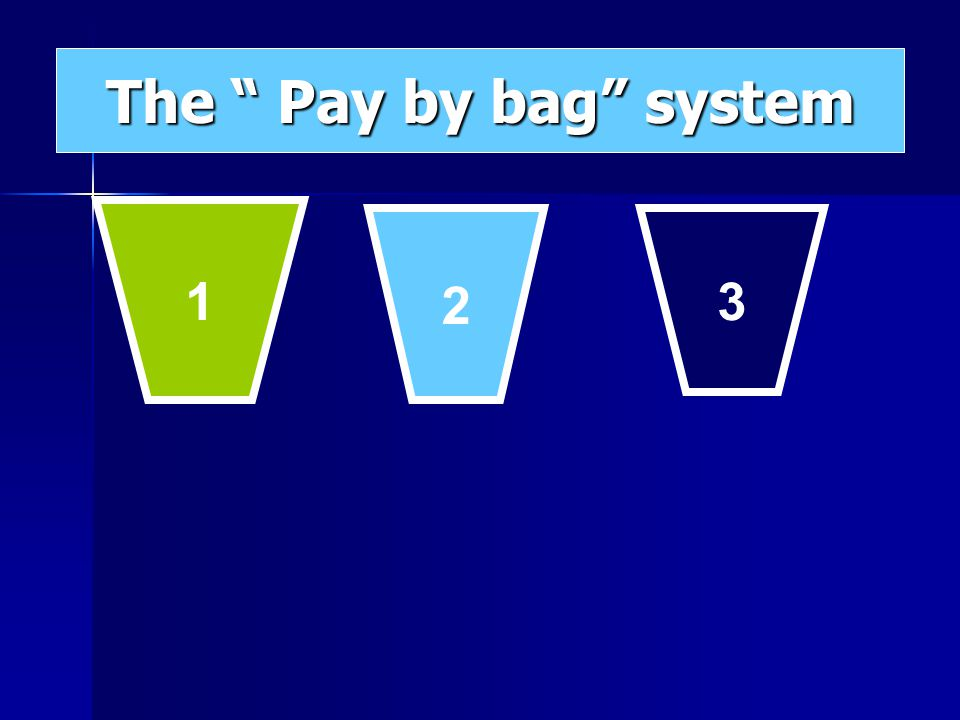 1 2 3 The Pay by bag system