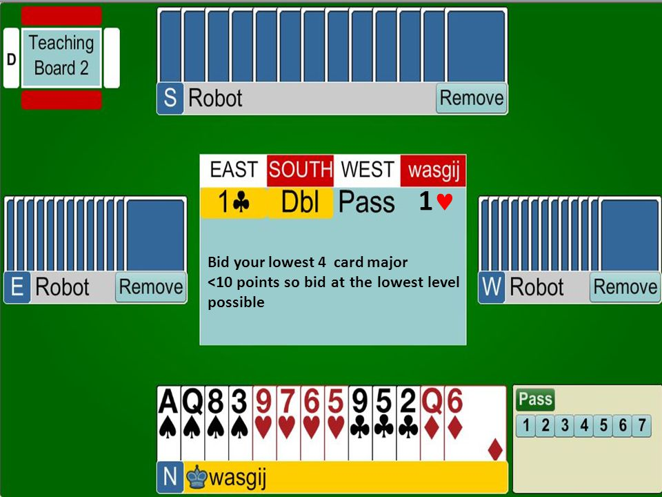 1 Bid your lowest 4 card major <10 points so bid at the lowest level possible