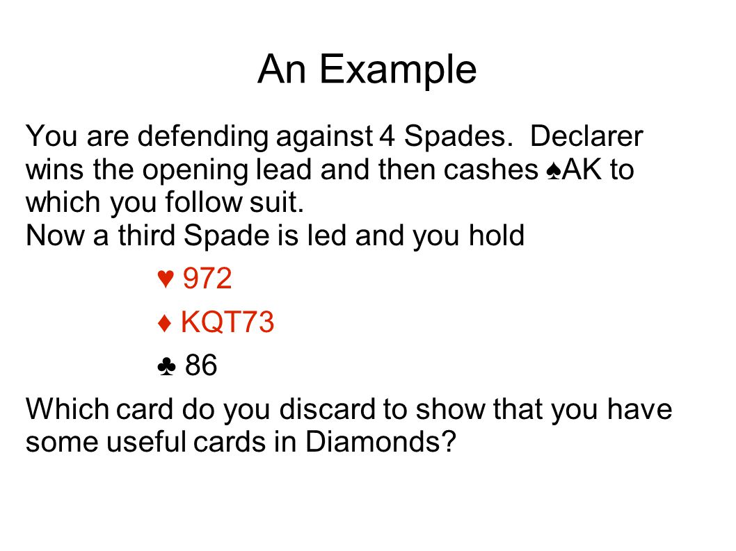 An Example You are defending against 4 Spades.
