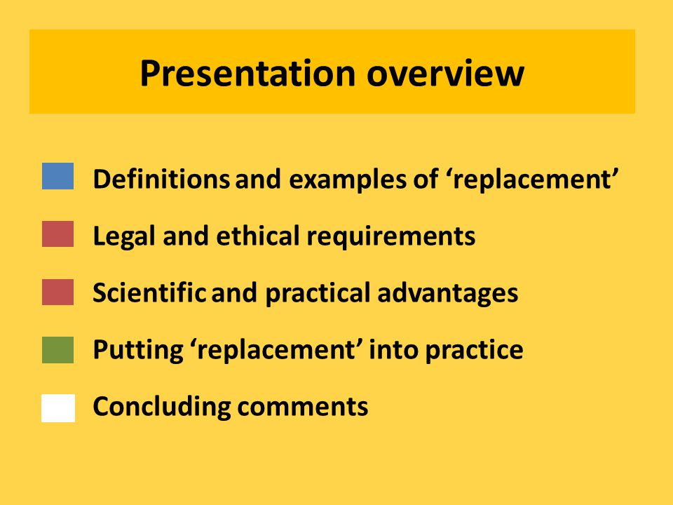 Presentation overview Definitions and examples of 'replacement' Legal and ethical requirements Scientific and practical advantages Putting 'replacement' into practice Concluding comments