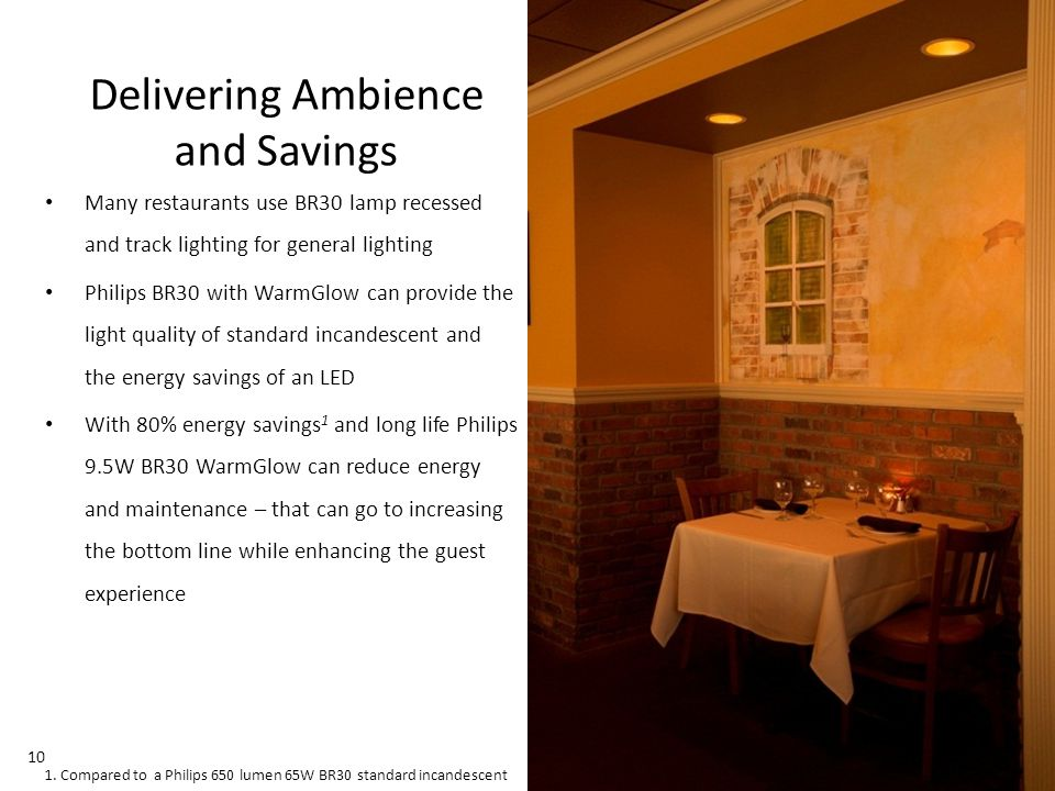November 01, 2013 _Sector Confidential 10 Delivering Ambience and Savings Many restaurants use BR30 lamp recessed and track lighting for general lighting Philips BR30 with WarmGlow can provide the light quality of standard incandescent and the energy savings of an LED With 80% energy savings 1 and long life Philips 9.5W BR30 WarmGlow can reduce energy and maintenance – that can go to increasing the bottom line while enhancing the guest experience 1.