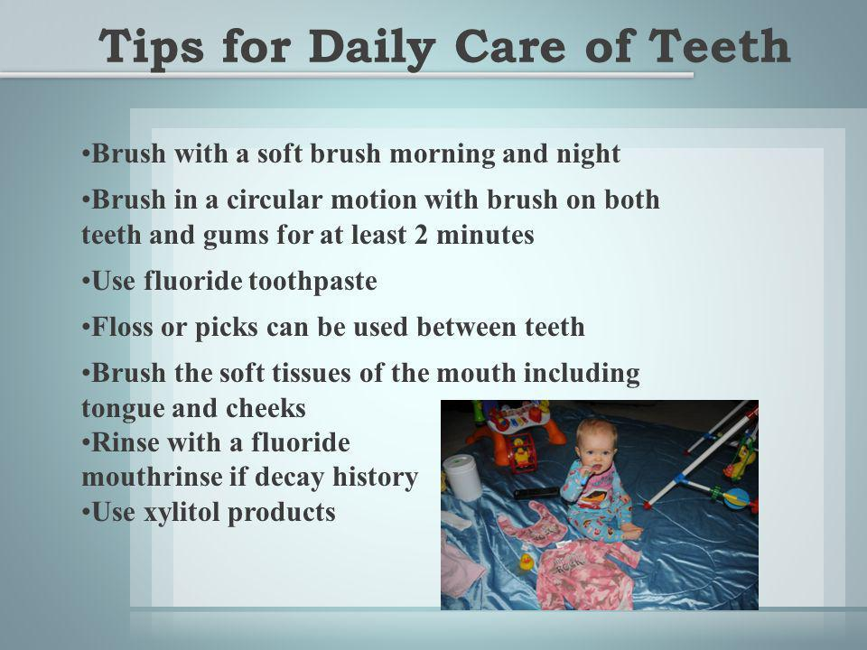 Brush with a soft brush morning and night Brush in a circular motion with brush on both teeth and gums for at least 2 minutes Use fluoride toothpaste Floss or picks can be used between teeth Brush the soft tissues of the mouth including tongue and cheeks Rinse with a fluoride mouthrinse if decay history Use xylitol products Tips for Daily Care of Teeth