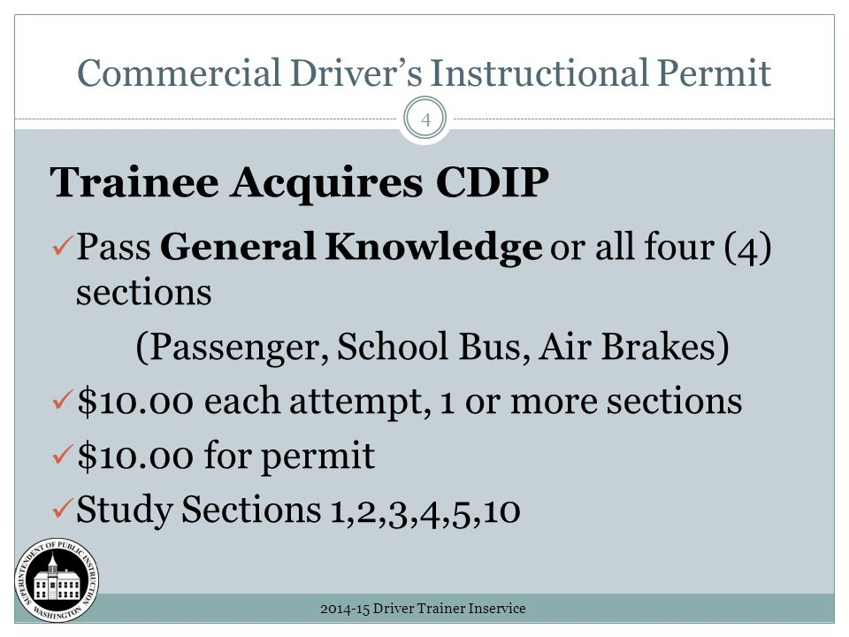Driver Trainer Inservice 1 Cdl Form To Finish Ppt Download