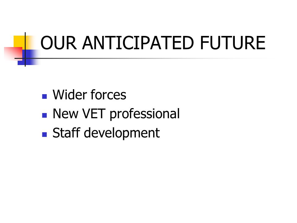 OUR ANTICIPATED FUTURE Wider forces New VET professional Staff development
