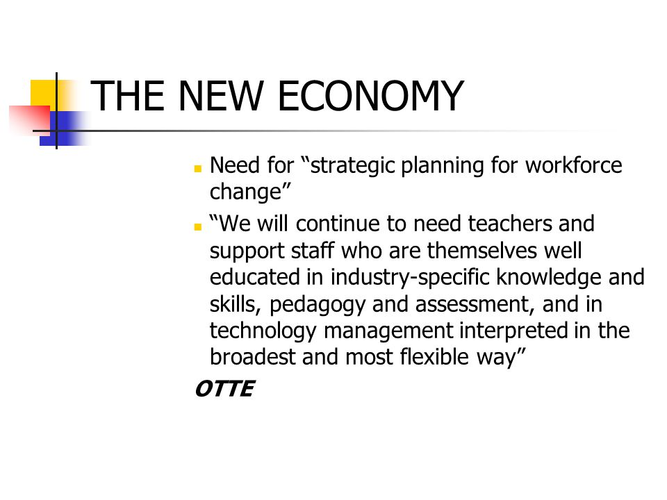 THE NEW ECONOMY Need for strategic planning for workforce change We will continue to need teachers and support staff who are themselves well educated in industry-specific knowledge and skills, pedagogy and assessment, and in technology management interpreted in the broadest and most flexible way OTTE