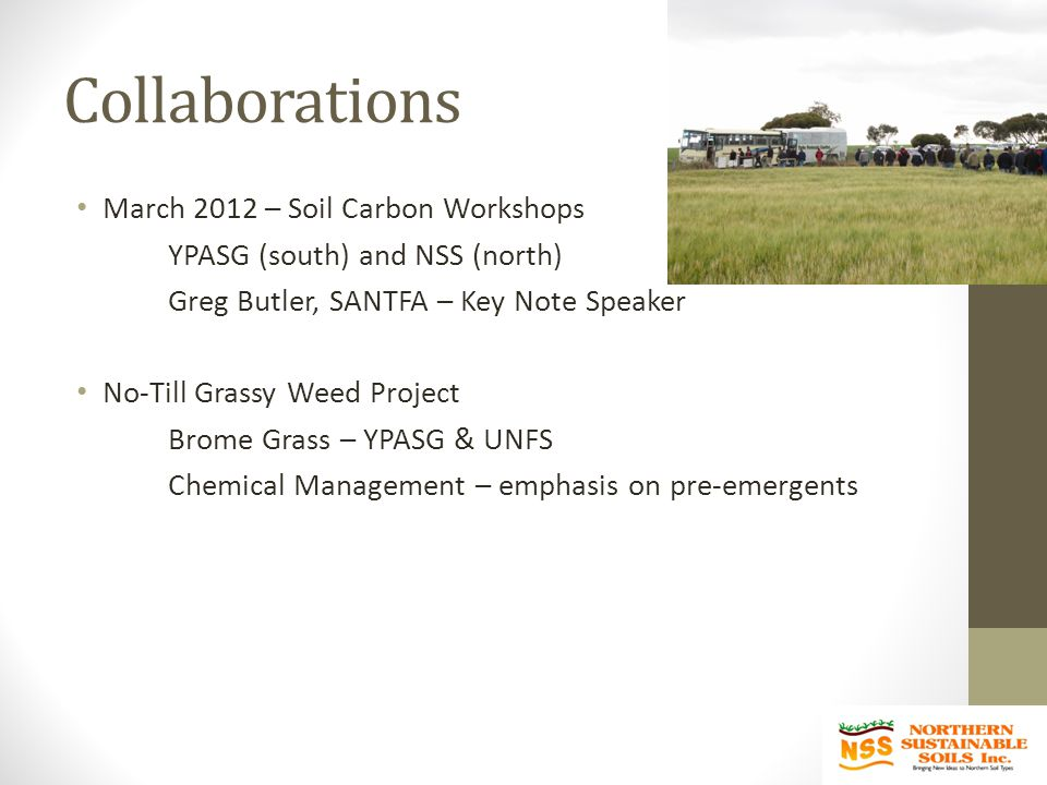 Collaborations March 2012 – Soil Carbon Workshops YPASG (south) and NSS (north) Greg Butler, SANTFA – Key Note Speaker No-Till Grassy Weed Project Brome Grass – YPASG & UNFS Chemical Management – emphasis on pre-emergents