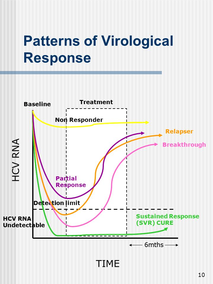 10 6mths Sustained Response (SVR) CURE Breakthrough Relapser Partial Response HCV RNA Undetectable Baseline Treatment Detection limit Non Responder Patterns of Virological Response TIME HCV RNA 6mths Sustained Response (SVR) CURE Breakthrough Relapser Partial Response HCV RNA Undetectable Baseline Treatment Detection limit Non Responder