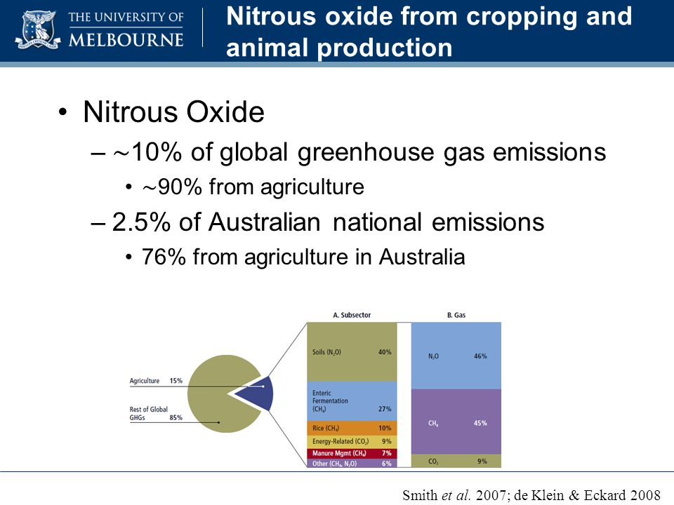 Nitrous oxide from cropping and animal production Nitrous Oxide – ∼ 10% of global greenhouse gas emissions ∼ 90% from agriculture –2.5% of Australian national emissions 76% from agriculture in Australia Smith et al.