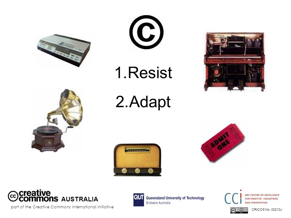 AUSTRALIA part of the Creative Commons international initiative CRICOS No. 00213J 1.Resist 2.Adapt