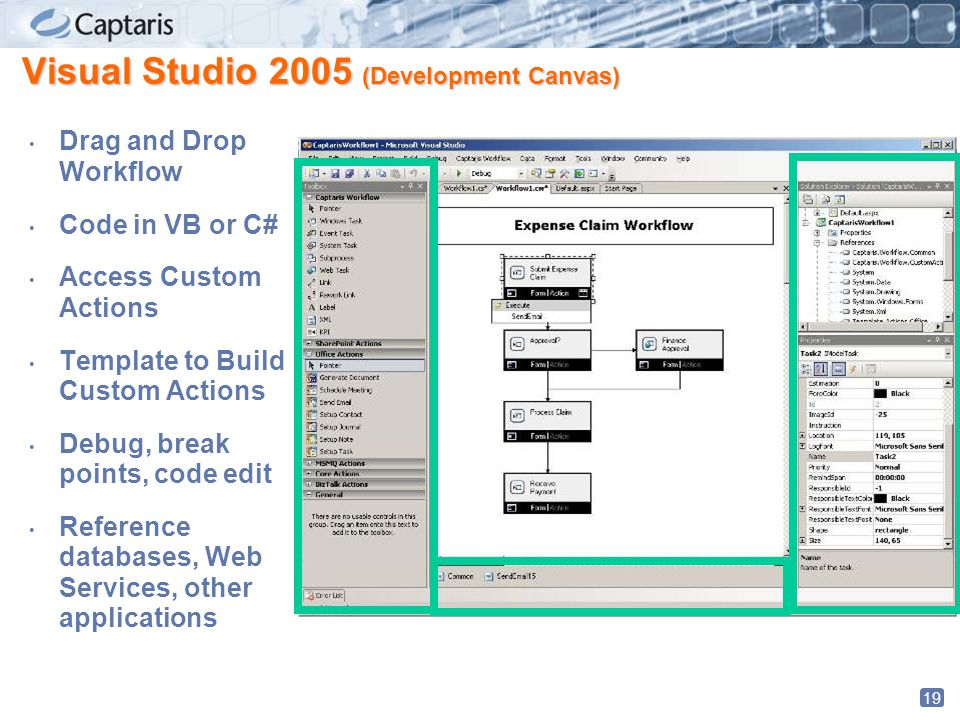 19 Visual Studio 2005 (Development Canvas) Drag and Drop Workflow Code in VB or C# Access Custom Actions Template to Build Custom Actions Debug, break points, code edit Reference databases, Web Services, other applications