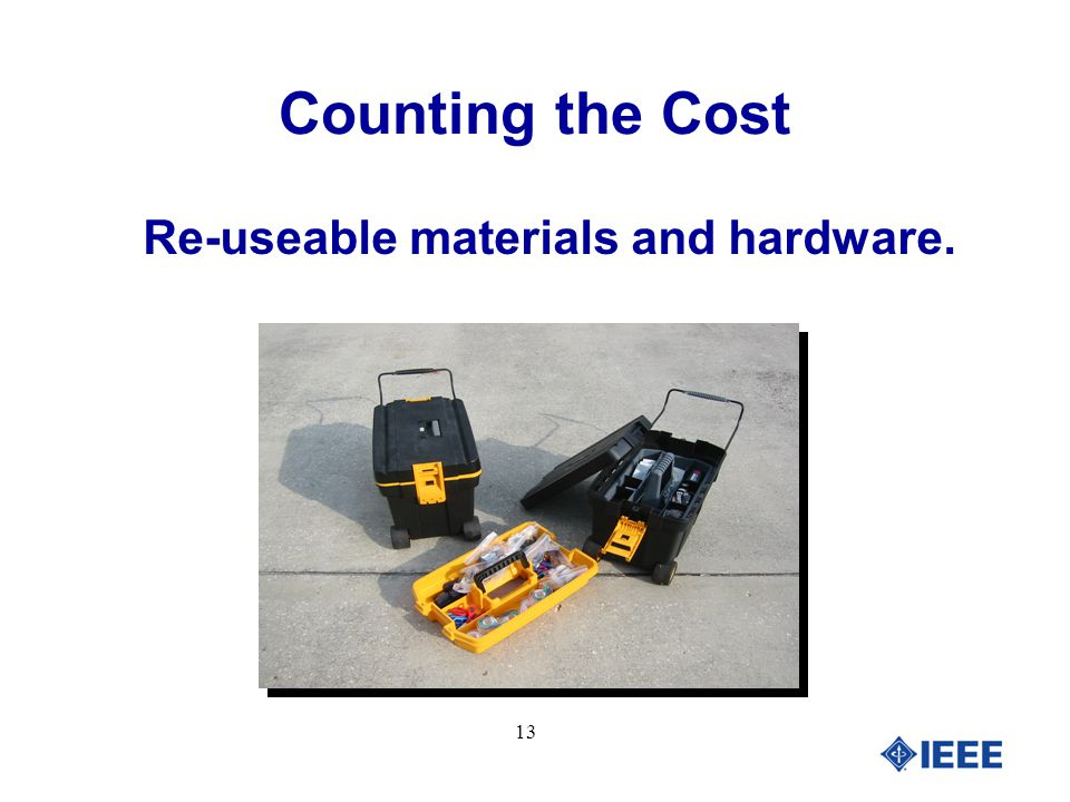 13 Re-useable materials and hardware. Counting the Cost
