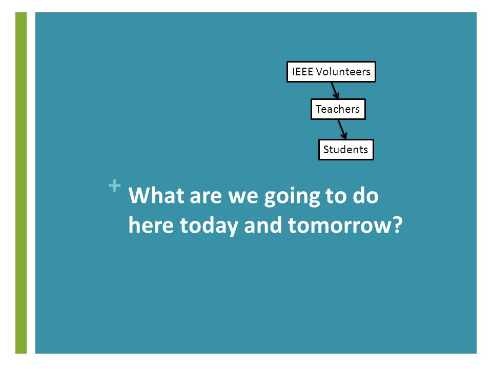 + What are we going to do here today and tomorrow IEEE Volunteers Teachers Students