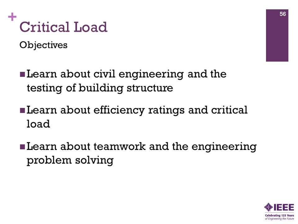 + Learn about civil engineering and the testing of building structure Learn about efficiency ratings and critical load Learn about teamwork and the engineering problem solving Objectives 56