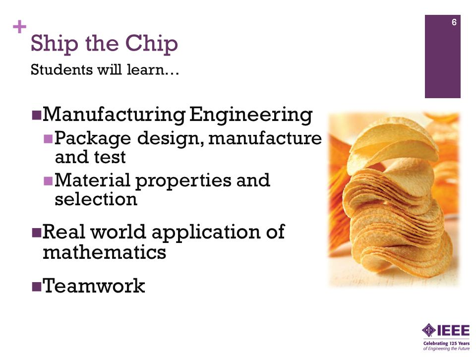 + Ship the Chip Manufacturing Engineering Package design, manufacture and test Material properties and selection Real world application of mathematics Teamwork 6 Students will learn…