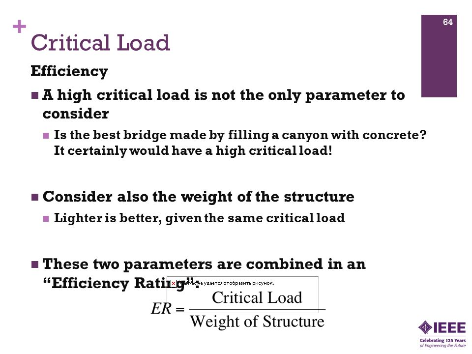 + Critical Load A high critical load is not the only parameter to consider Is the best bridge made by filling a canyon with concrete.