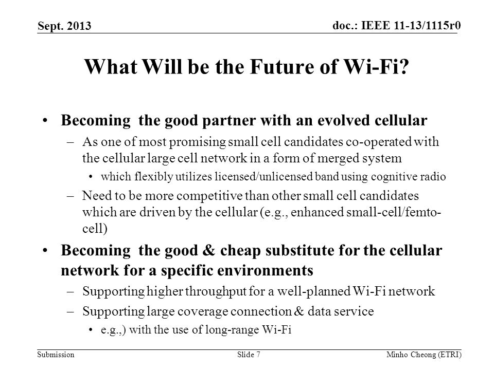 doc.: IEEE 11-13/1115r0 Submission What Will be the Future of Wi-Fi.