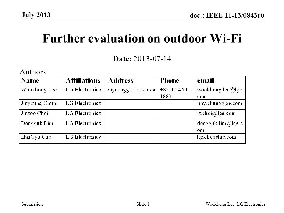 Submission doc.: IEEE 11-13/0843r0 July 2013 Wookbong Lee, LG ElectronicsSlide 1 Further evaluation on outdoor Wi-Fi Date: Authors: