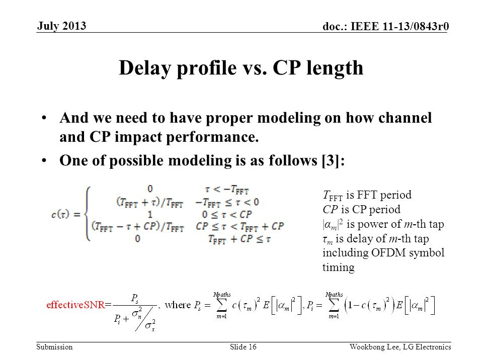 Submission doc.: IEEE 11-13/0843r0 July 2013 Wookbong Lee, LG ElectronicsSlide 16 Delay profile vs.