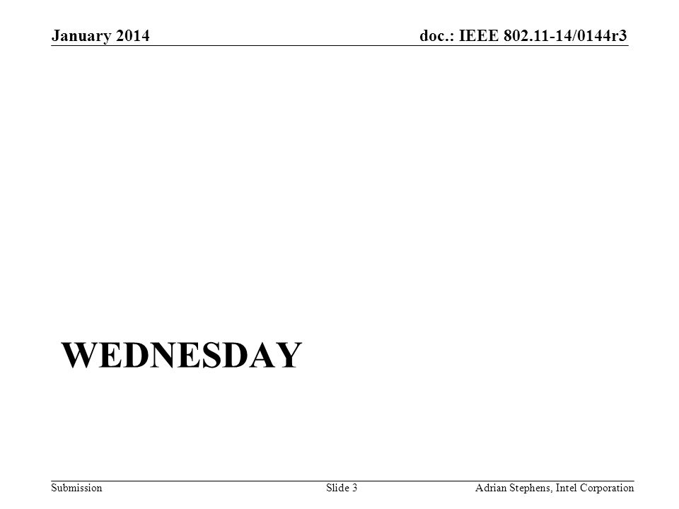 doc.: IEEE /0144r3 Submission WEDNESDAY January 2014 Adrian Stephens, Intel CorporationSlide 3