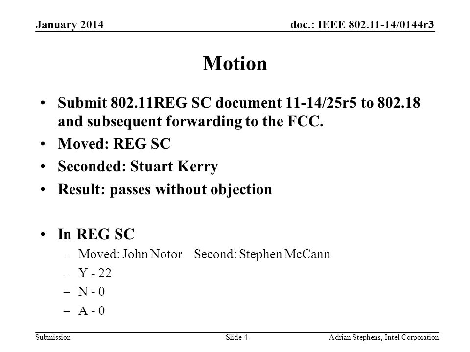 doc.: IEEE /0144r3 Submission Motion Submit REG SC document 11-14/25r5 to and subsequent forwarding to the FCC.