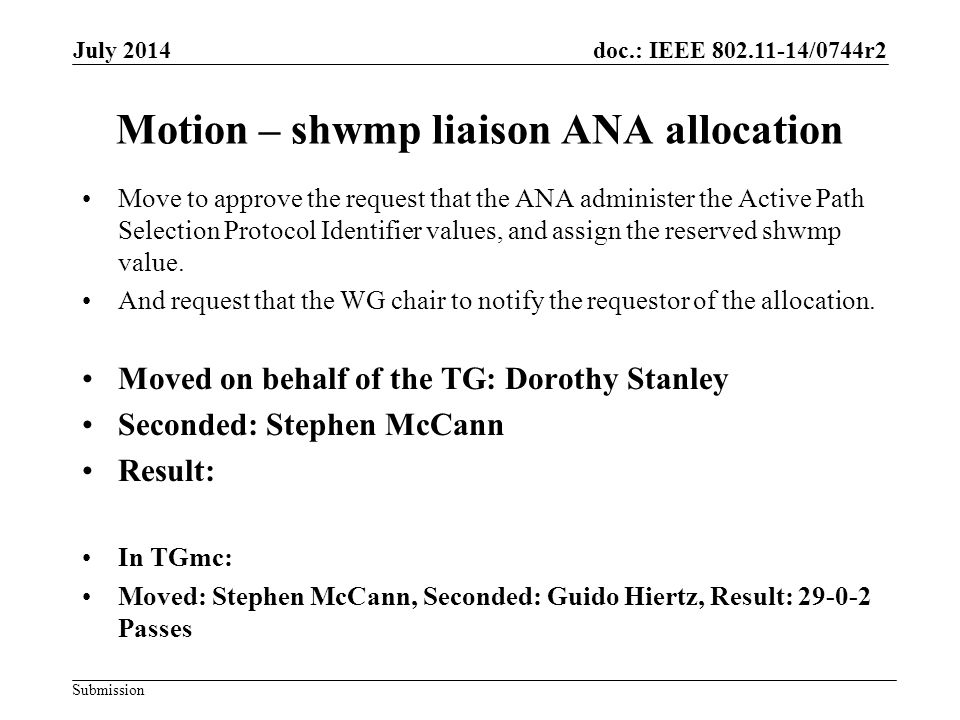 doc.: IEEE 802.11-14/0744r2 Submission July 2014 Motion – shwmp liaison ANA allocation Move to approve the request that the ANA administer the Active Path Selection Protocol Identifier values, and assign the reserved shwmp value.