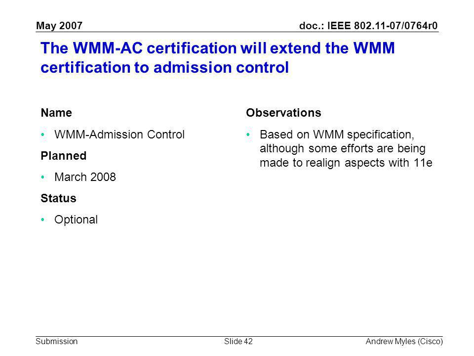 doc.: IEEE 802.11-07/0764r0 Submission May 2007 Andrew Myles (Cisco)Slide 42 The WMM-AC certification will extend the WMM certification to admission control Name WMM-Admission Control Planned March 2008 Status Optional Observations Based on WMM specification, although some efforts are being made to realign aspects with 11e