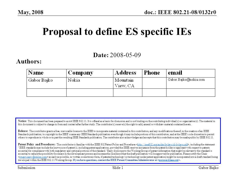 doc.: IEEE 802.21-08/0132r0 Submission May, 2008 Gabor BajkoSlide 1 Proposal to define ES specific IEs Notice: This document has been prepared to assist IEEE 802.11.