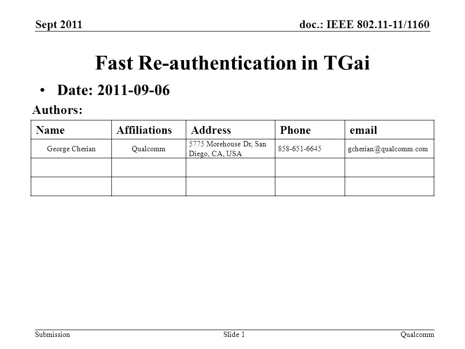 doc.: IEEE 802.11-11/1160 Submission NameAffiliationsAddressPhoneemail George CherianQualcomm 5775 Morehouse Dr, San Diego, CA, USA 858-651-6645gcherian@qualcomm.com Fast Re-authentication in TGai Date: 2011-09-06 Sept 2011 Slide 1 Authors: Qualcomm