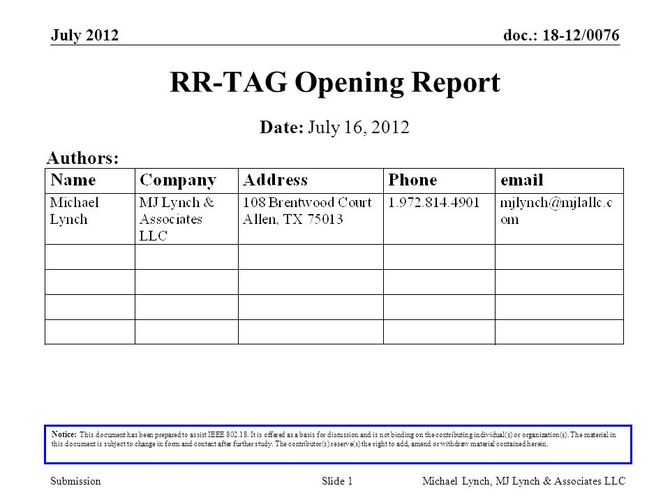 doc.: 18-12/0076 Submission July 2012 Michael Lynch, MJ Lynch & Associates LLCSlide 1 RR-TAG Opening Report Notice: This document has been prepared to assist IEEE 802.18.