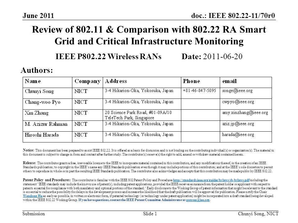 doc.: IEEE /70r0 Submission June 2011 Chunyi Song, NICTSlide 1 Review of & Comparison with RA Smart Grid and Critical Infrastructure Monitoring IEEE P Wireless RANs Date: Authors: Notice: This document has been prepared to assist IEEE