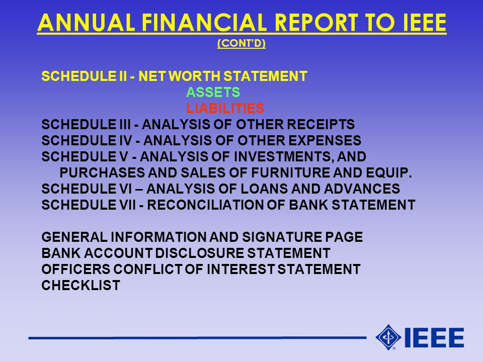ANNUAL FINANCIAL REPORT TO IEEE (CONT'D) SCHEDULE II - NET WORTH STATEMENT ASSETS LIABILITIES SCHEDULE III - ANALYSIS OF OTHER RECEIPTS SCHEDULE IV - ANALYSIS OF OTHER EXPENSES SCHEDULE V - ANALYSIS OF INVESTMENTS, AND PURCHASES AND SALES OF FURNITURE AND EQUIP.