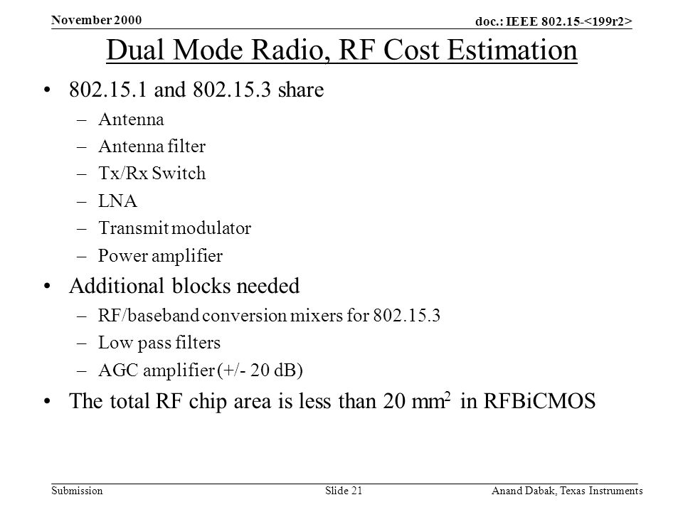 doc.: IEEE 802.15- Submission November 2000 Anand Dabak, Texas InstrumentsSlide 21 Dual Mode Radio, RF Cost Estimation 802.15.1 and 802.15.3 share –Antenna –Antenna filter –Tx/Rx Switch –LNA –Transmit modulator –Power amplifier Additional blocks needed –RF/baseband conversion mixers for 802.15.3 –Low pass filters –AGC amplifier (+/- 20 dB) The total RF chip area is less than 20 mm 2 in RFBiCMOS
