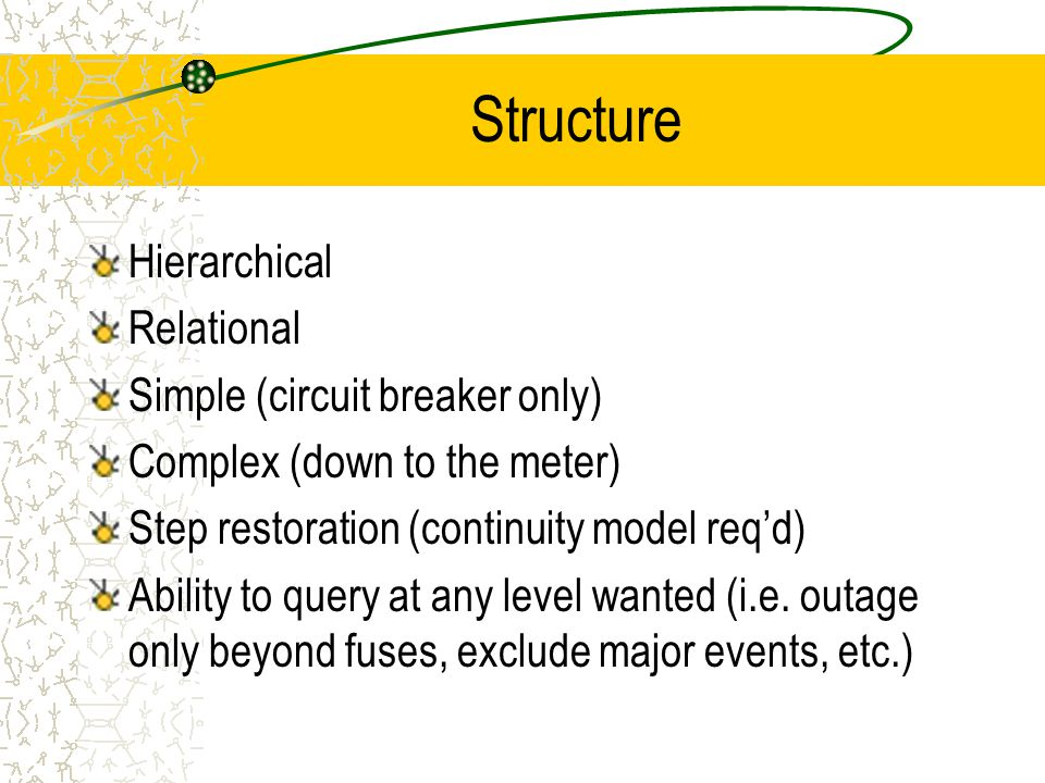 Structure Hierarchical Relational Simple (circuit breaker only) Complex (down to the meter) Step restoration (continuity model req'd) Ability to query at any level wanted (i.e.