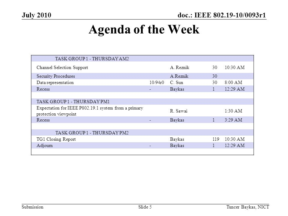 doc.: IEEE 802.19-10/0093r1 Submission Agenda of the Week July 2010 Tuncer Baykas, NICTSlide 5 TASK GROUP 1 - THURSDAY AM2 Channel Selection SupportA.