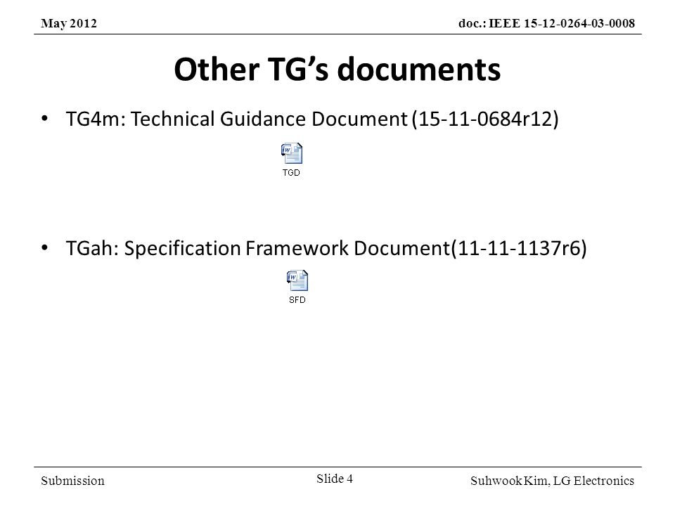 SubmissionSuhwook Kim, LG Electronics May 2012doc.: IEEE 15-12-0264-03-0008 Other TG's documents Slide 4 TG4m: Technical Guidance Document (15-11-0684r12) TGah: Specification Framework Document(11-11-1137r6)