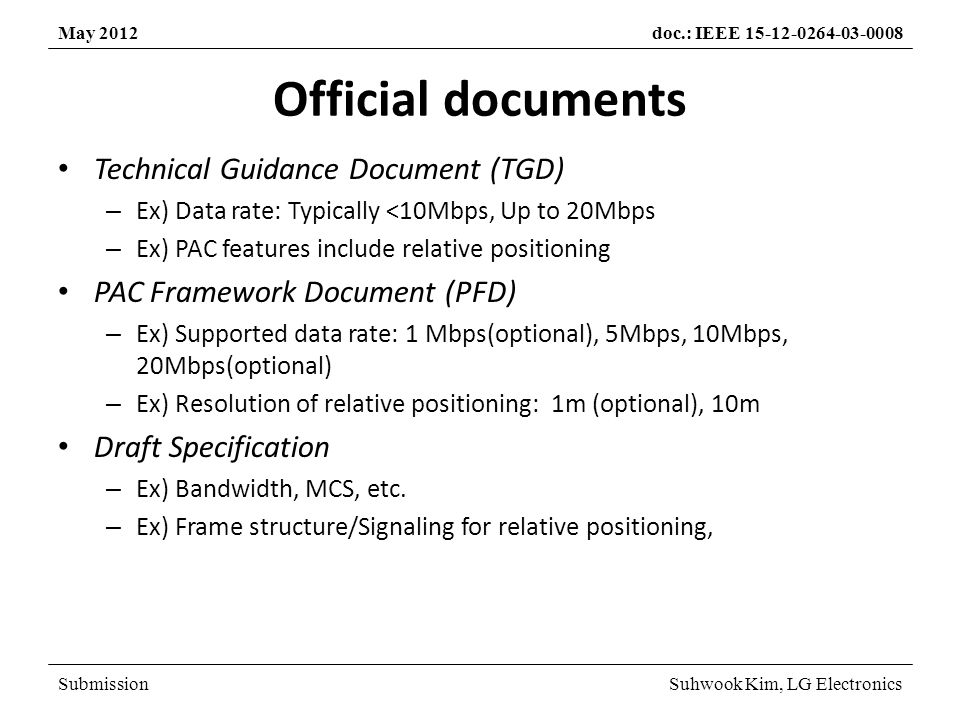 SubmissionSuhwook Kim, LG Electronics May 2012doc.: IEEE 15-12-0264-03-0008 Official documents Technical Guidance Document (TGD) – Ex) Data rate: Typically <10Mbps, Up to 20Mbps – Ex) PAC features include relative positioning PAC Framework Document (PFD) – Ex) Supported data rate: 1 Mbps(optional), 5Mbps, 10Mbps, 20Mbps(optional) – Ex) Resolution of relative positioning: 1m (optional), 10m Draft Specification – Ex) Bandwidth, MCS, etc.